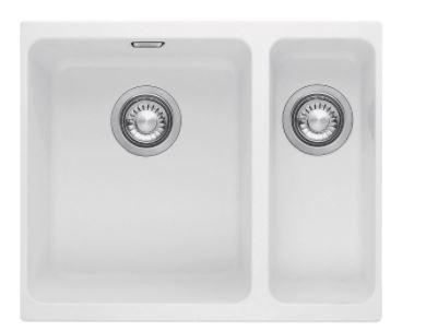 Franke KBG160-BPW Kubus 1 and 1/4 Bowl Undermount Sink white